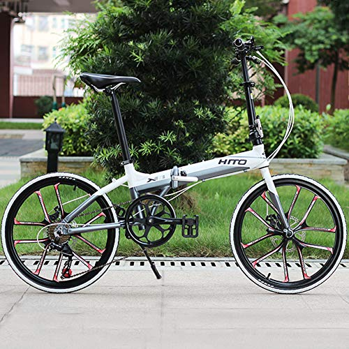 MIRACLEM 22 Pulgadas Plegable Bicicleta Plegable/Aleación De Aluminio Ultra Ligero Frenos De Disco Portátiles Hombres Y Mujeres Estudiantes Adultos ...