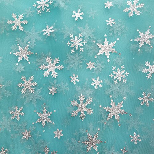Snowflake Sheer Organza Aqua 60 inch Fabric by the Yard (F.E.®)