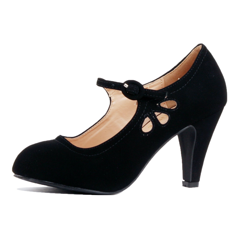 Guilty Heart - Womens Retro Round Toe Ankle Strap Low Kitten Heel Mary Jane Dress Pumps (8.5 B(M) US, Blackv1 Nubuck)