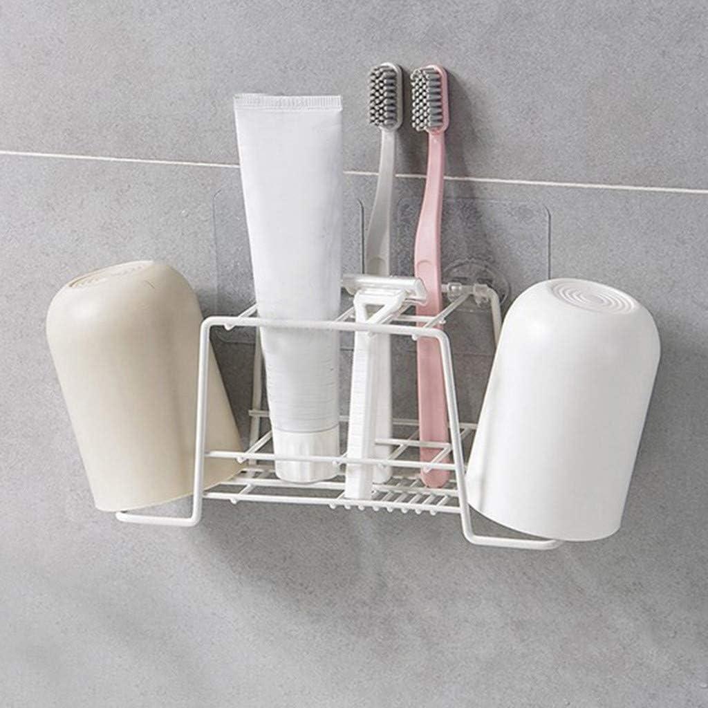 Blanc Adh/ésif Support de Brosse /à Dents et Tubes de Dentifrice Rangement /Étag/ère pour Salle de Bain Finebo Porte Brosse /à Dents en Fer