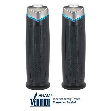 "Germ Guardian AC4825 22"" 3-in-1 True HEPA Filter Air Purifier for Home, Full Room, UV-C Light Kills Germs, Filters Allergies, Smoke, Dust, Pet Dander, Odors, 3-Yr Wty, GermGuardian, Grey 2-Pck"