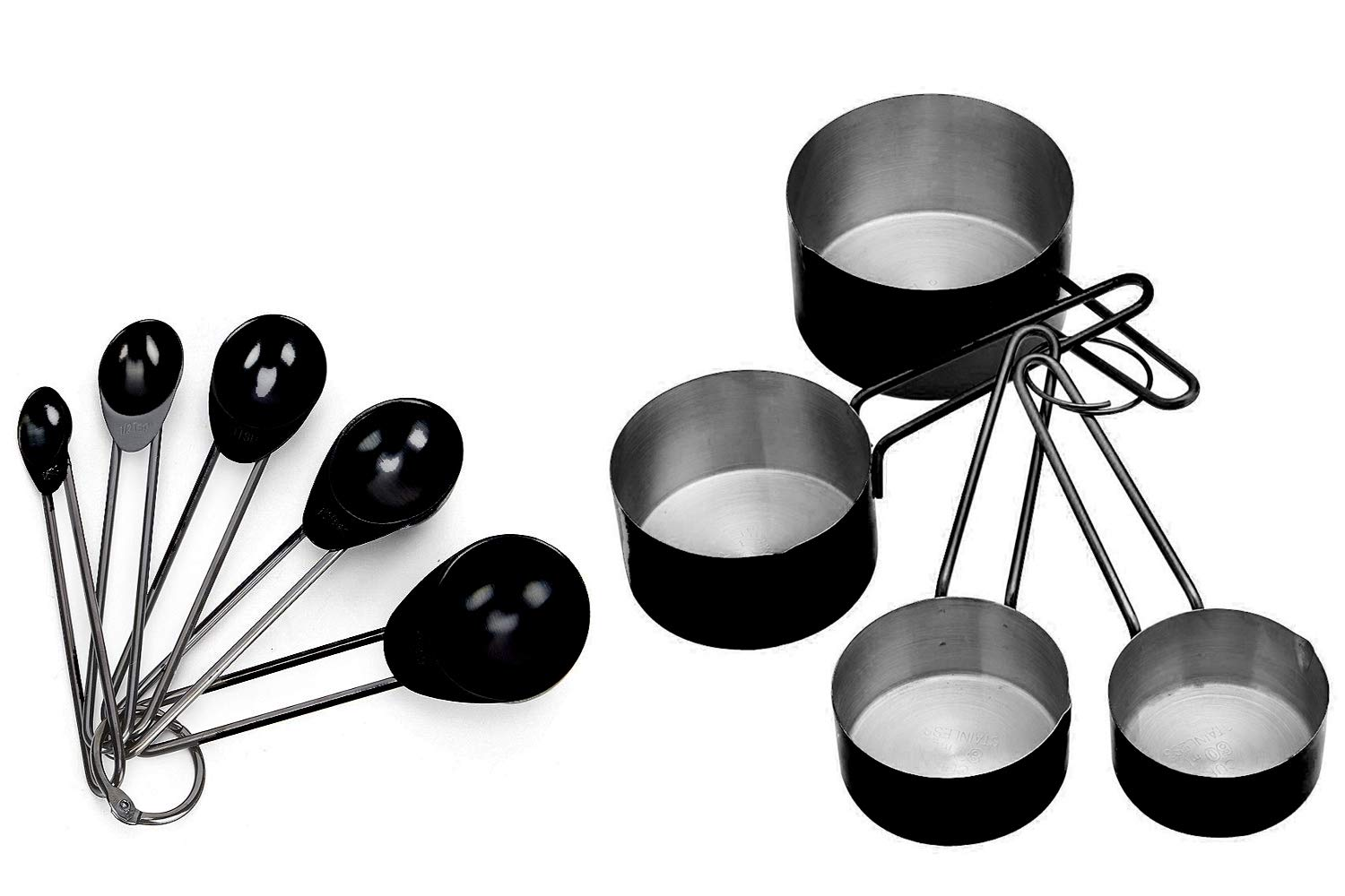 Buy king international stainless steel measuring cups and spoons useful engraved measurements cooking measuring cups and spoons with ring black 8 pcs set