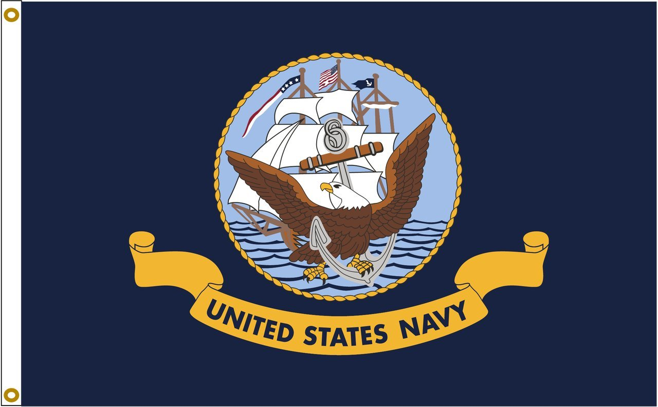 US Navy 6ftx10ft Nylon Flag 6x10 Made In USA 6'x10' by Flags Poles And More