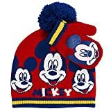 ABG Accessories Mickey Mouse Baby Toddler Boys Beanie Hat & Mitten Set, Red, One Size