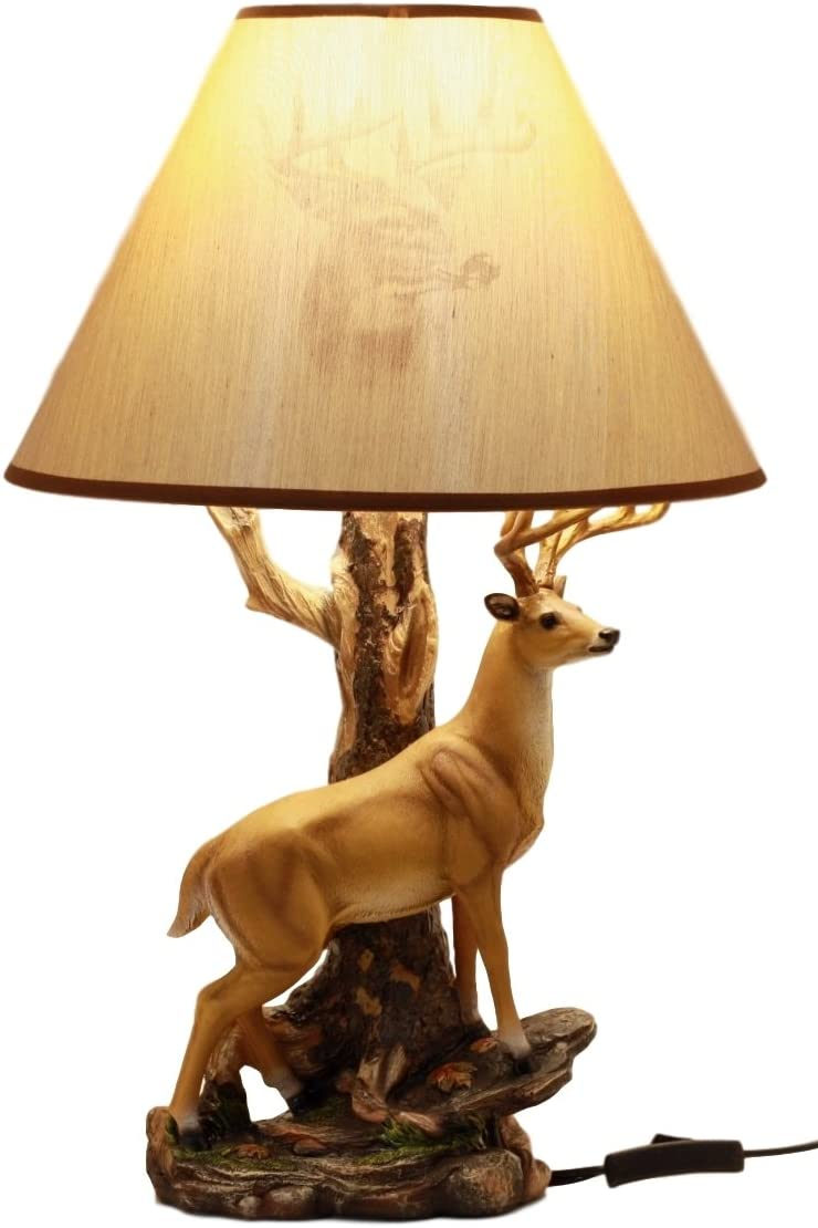 """Ebros Gift Wildlife Nature 12 Point Whitetail Deer Buck Desktop Table Lamp With Nature Printed Shade Home Decor 20""""Tall"""