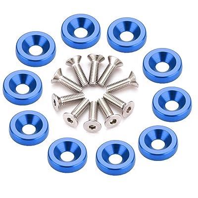 10 PCS Bumper Fender Washer Bolt M6x20mm CNC Finishing Aluminum Washers Engine Bay Dress Up Kit (Blue): Automotive