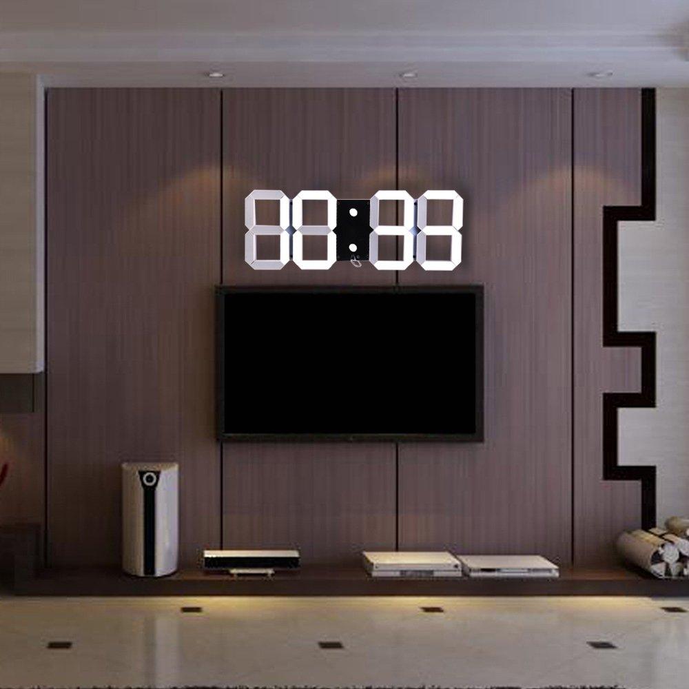 デジタル3次元クロッククリエイティブウォールクロックをリードしたファッションクロックは、黒クロックをぶら下げグ B075P25TTBA03