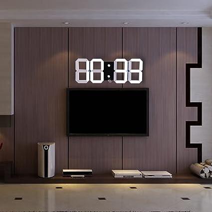 Reloj de pared gigante LED, con calendario, temperatura y mando a distancia, para habitación, casa o decoración: Amazon.es: Hogar