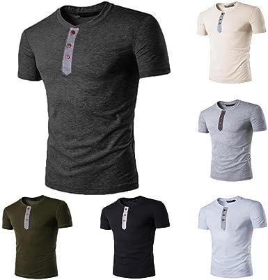 Camisetas Rasgada Hombre, Camiseta Manga Corta de Botón Casual ...