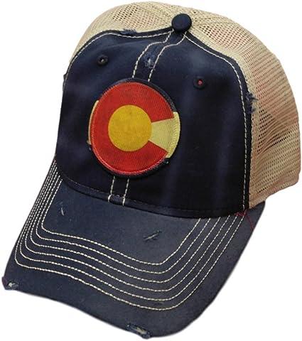 Colorado Flag Distressed Trucker Baseball Cap Denim Blue