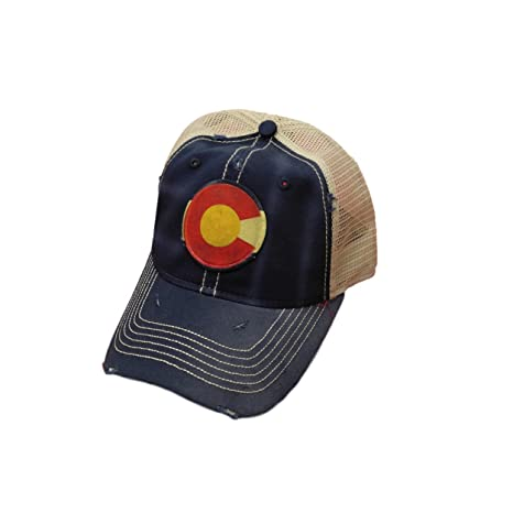 4796ff459 Colorado Circle Flag Distressed Trucker Baseball Cap Blue