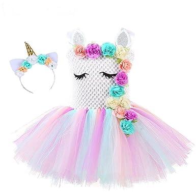 38393aa8efab Flower Girls Unicorn Tutu Dress Pastel Rainbow Princess Girls Birthday  Party Dress Children Kids Halloween Unicorn