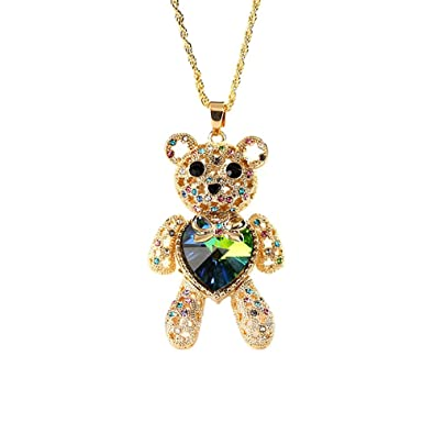 58e2f87c3345 LOVFASH Crystal Long Necklace - Little Girls Sweater Necklace The Brave Bear  Pendant Necklace for Girls