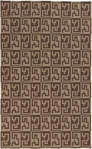 Paxville Flat Weave Contemporary 8 x 11 Rectangle Modern 100 Wool Dark Brown Wheat Area Rug