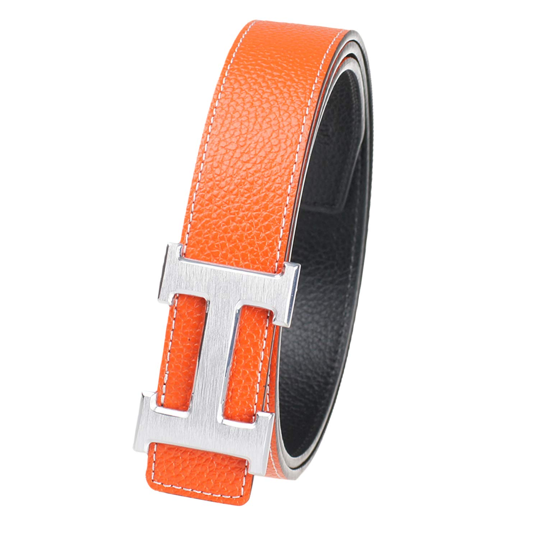 New Designer H Buckle Belt, High Quality Luxury Women's Leather Waist Belts 32inch Black