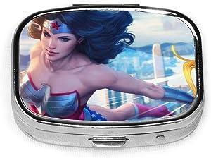 Wonder Woman Pill Box Organizer Travel Pill Case Pocket Airtight Supplement Holder Portable Vitamin 2 Compartment Medicine Container
