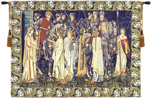 Tapestry, Extra Large, Wide - Elegant, Fine, French & Wall Hanging - The Holy Grail, with Border, A-H62xW85 by Blessinglight USA