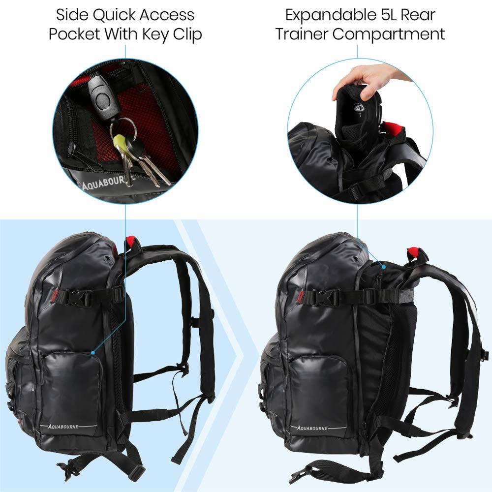 Aquabourne Sac /à Dos imperm/éable Sac /à Dos v/élo de randonn/ée Voyager avec lumi/ère LED int/égr/ée /& Compartiment /à Chaussures Expansible
