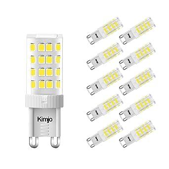 10 x Bombillas LED G9 5W, Kimjo Lampara G9 Blanco frío 6000K Equivalente a 40W