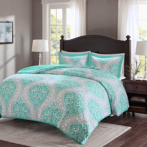 Duvet Cover Twin/Twin XL Size - Coco Teen Girls Bedding Set utilizing Corner Ties - 2 Pieces [ 1 Duvet Cover, 1 Sham ] Teal and Grey Duvet Bed Sets utilizing Damask Pattern