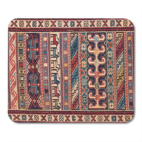 SYMSPAD Red Assortment Colorful Embroidery Detail Asian Carpet in Istanbul Turkey Close Up Pink Asia Beautiful Mousepad 8.6 X 7.1 in