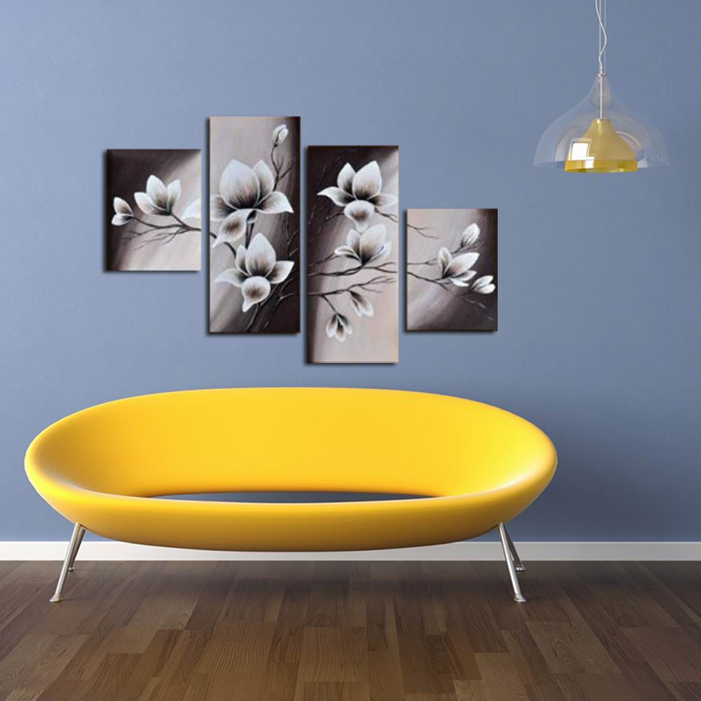 Amazon.com: Wieco Art Elegant Blooming Flowers 4 Panels Modern 100 ...
