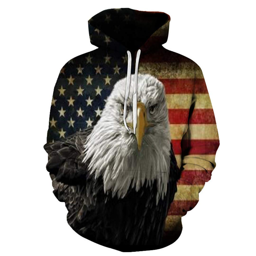 Unisex USA Letter Printed Fashion Hooded Sweatshirt