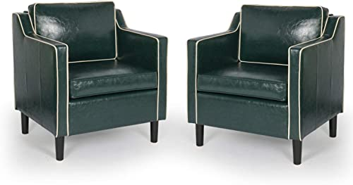 Modern Accent Chair Set of 2 with Arms Single Couch Sofa with Faux Leather for Living Room Office Mid Century Upholstered Armchair Set with Solid Wood Legs 2, Green