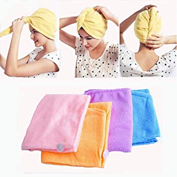 3 Pack Microfiber Hair Drying Towels Super Water-Absorbent Bath Shower Head Towel with Buttons Fast Drying Hair Cap Long Hair Wrap Turban