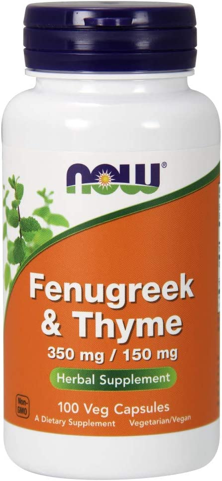 NOW Supplements, Fenugreek & Thyme 350 mg / 150 mg, Herbal Supplement, 100 Veg Capsules (pack of 4)