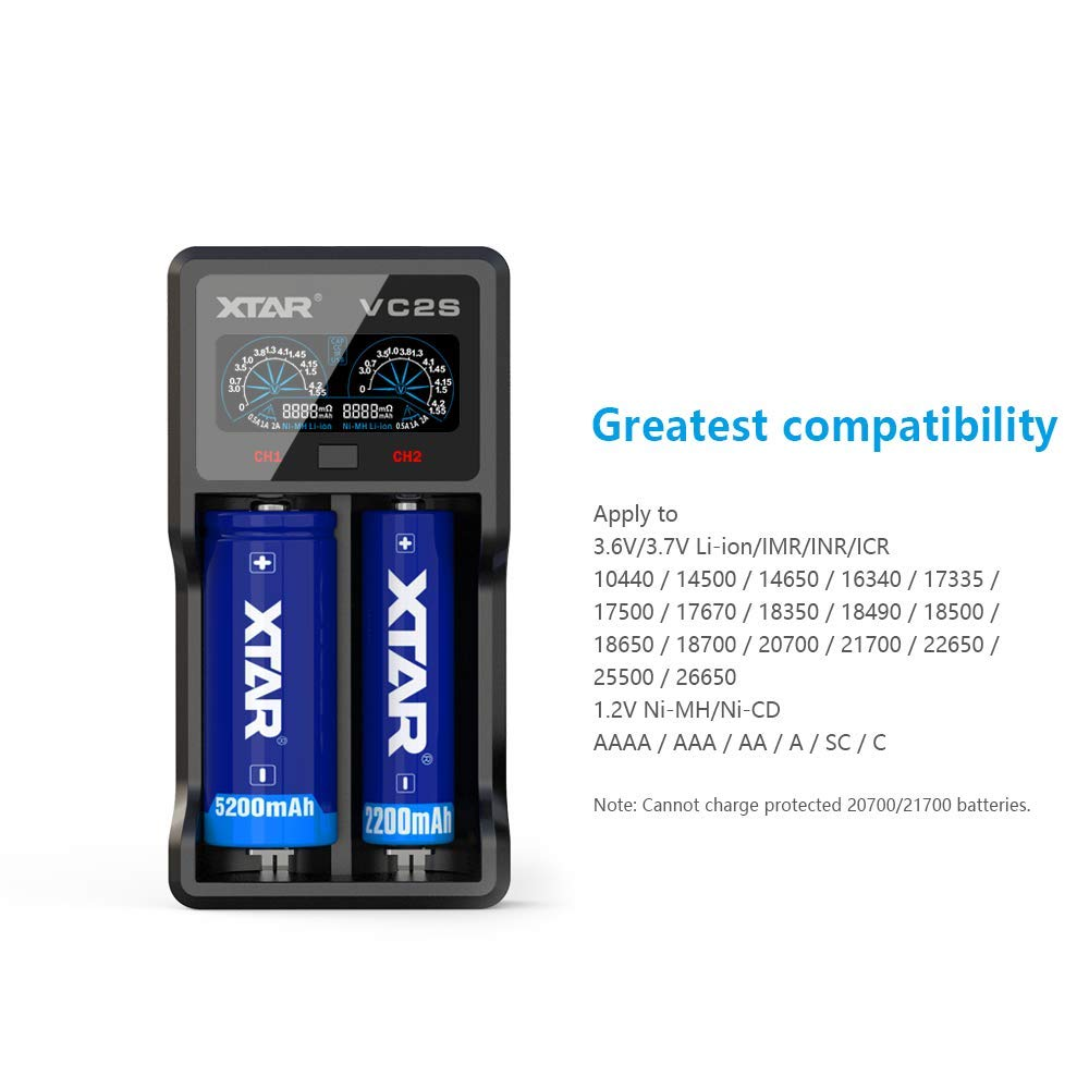 XTAR VC2S 5V 2.1A 18650 Battery Charger VC2 2019 Upgraded LCD Display with Power Bank Function and Check The Batteries Authenticity for 10440 18350 ...