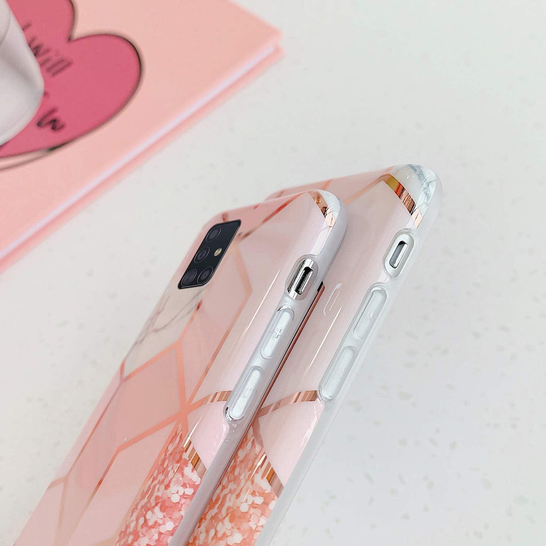 Surakey Coque pour Samsung Galaxy A51 Coque G/éom/étrique Marbre Motif Ultra Fine Souple TPU Silicone Gel Case Cover Housse /Étui de Protection Anti-Rayures Antichoc Bumper Case pour Galaxy A51,Rose