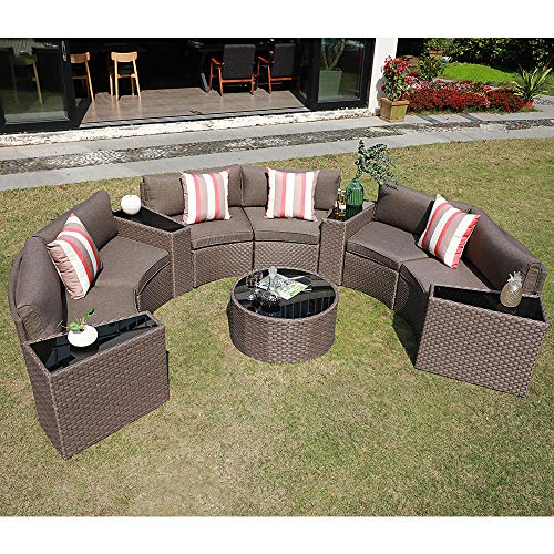 SUNSITT Outdoor Sectional Set 11-Piece Half Moon Patio Furniture Brown Wicker Sofa Taupe Cushions with 4 Side Table and 4 Pillows