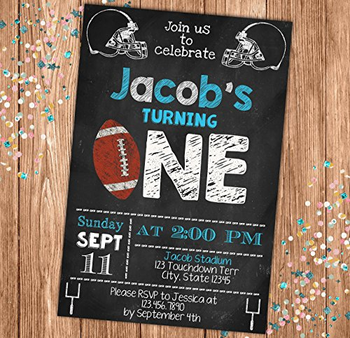 All Star Football Invitations - Football Chalkboard Style Birthday Invitation - Blue All Star Sports Themed Party Invite - Personalized