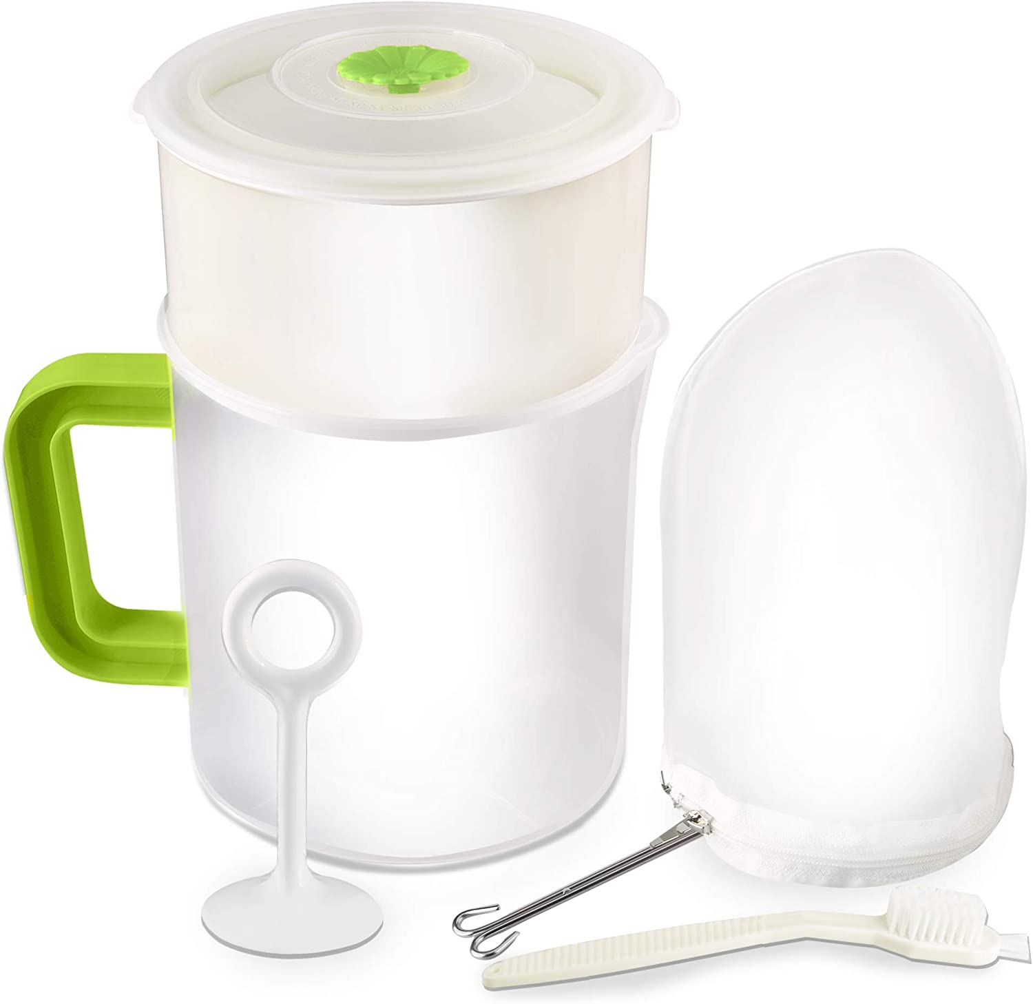 Multiple Usage Food Strainer Greek Yogurt Strainer Maker with 200 Micron Nylon Cheesecloth Bag Food Grade Polycarbonate And Stainless Steel Mesh BPA-Free, Soy Milk Juice Tea Filter 1.5-Quart