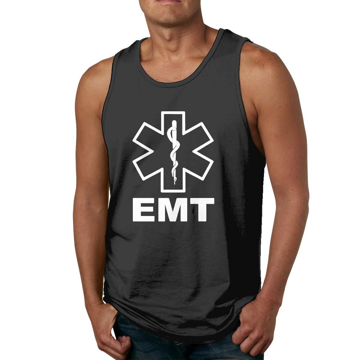 FKAHQ V2 EMT Emergency Medical Technician 911 Men Printed Vest Sports Tank-Top T-Shirt Leisure Sleeveless Shirts