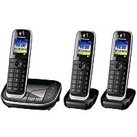 Panasonic KX-TGJ323GB Familien-Telefon mit Anrufbeantworter, 2 zusätzliche Mobilteile, Schwarz