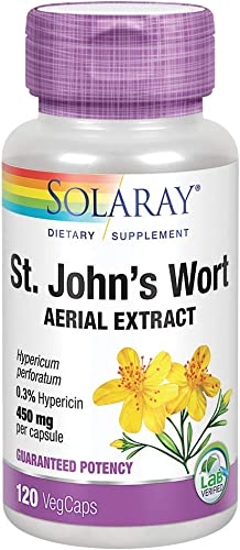 Solaray St Johns Wort Aerial Extract 450mg, Once Daily Mood Brain Health Support 0.3 Hypericin 120ct