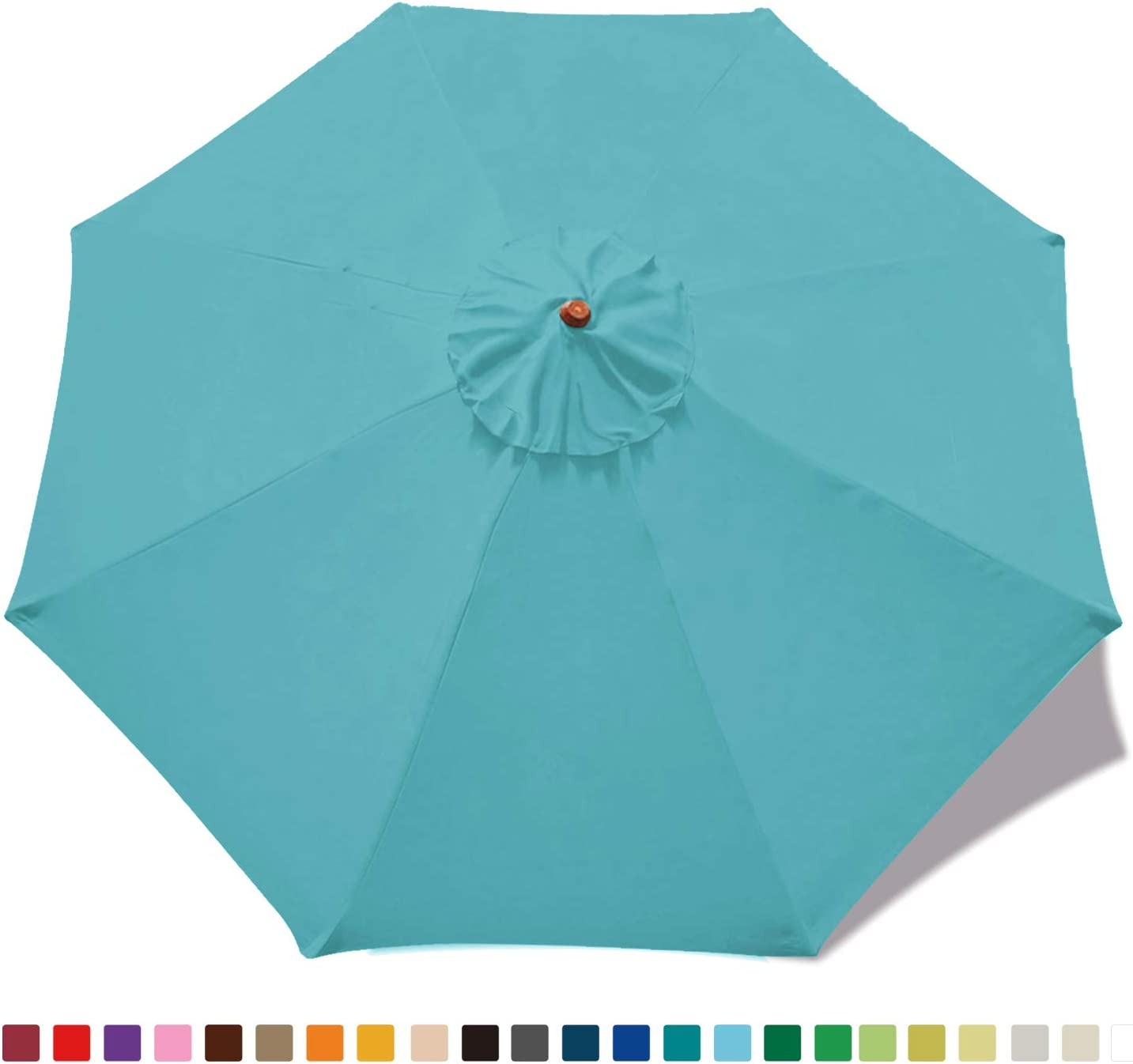 ABCCANOPY 9ft Market Umbrella Patio Umbrella Replacement Canopy 8 Ribs, Khaki Turquoise