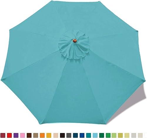 ABCCANOPY 9ft Market Umbrella Patio Umbrella Replacement Canopy 8 Ribs, Khaki Turquoise