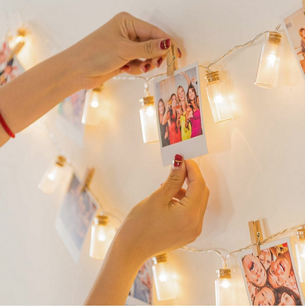 GreenClick Decorative String Lights,Waterproof Vintage Battery Operated Glass Jar Fairy String Lights,8 Modes Control Outdoor Indoor String Lights for Hanging Bedroom Wall(Cold White)