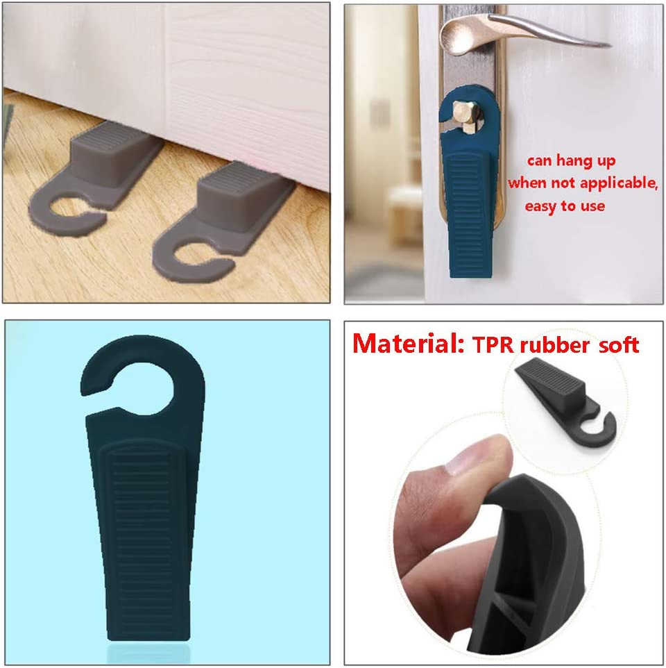Door Stop Works on All Floor Surfaces Hyamass 8Pcs Rubber Hook Type Door Stopper Control The Size of The Door Gaps and Prevent The Lock-Outs