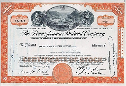 1965 Railroad - 1965 SUPERB ART DECO PENNSYLVANIA RAILROOD STOCK w HORSESHOE CURVE! BUY 2 GET 2 COLORS! 100 Shares (Green) Choice About Uncirculated