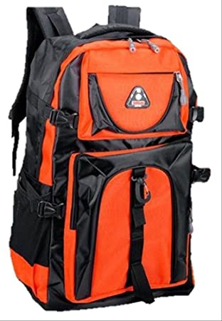 8bfe620c5e3c 大容量 60L 登山用 山登り リュック かっこいい サック バック パック 防災グッズ アウトドア (オレンジ