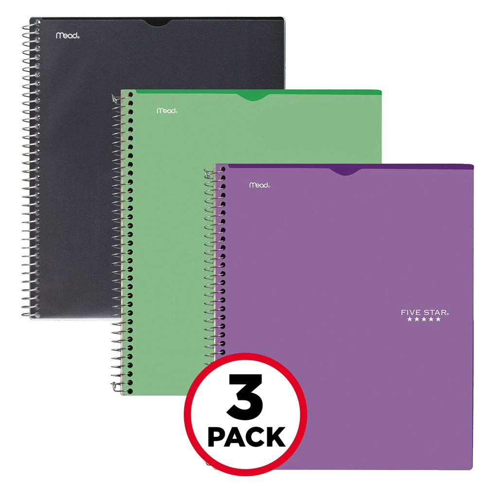 Five Star Interactive Notetaking, 1 Subject, College Ruled Notebooks, 100 Sheets, 11'' x 8-1/2'', Customizable, 3 Pack (38591)