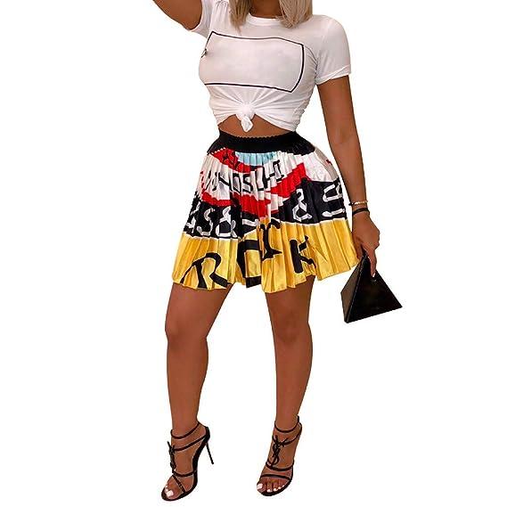 SIRIGOGO Faldas Plisadas de Graffiti para Mujer Cintura elástica ...