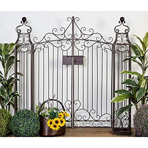 """Deco 79 41391 Large Traditional Brown Metal Garden Gate with Latch & Ornate Scrollwor, 64"""" x 60"""" Review"""