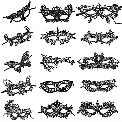 Venetian Style Black Sexy Lace Masquerade Party Masks, Set of 15 -