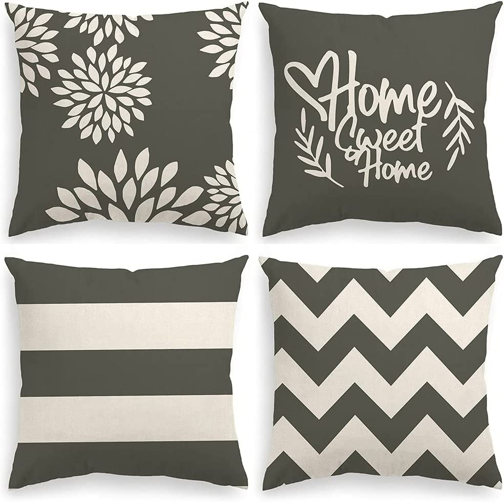 INSHERE Decorative Pillow Covers 18 x 18 Inch Set of 4 Grey Modern Geometric Home Sweet Home Throw Pillow Cover Cushion Case for Couch Sofa Living Room Indoor Outdoor Home Decor