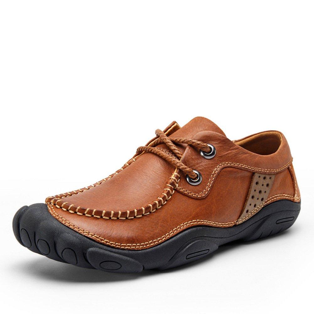 GTYMFH Herren Outdoor Freizeitschuhe Modisch Bequem Lederschuhe Einzelne Schuhe,rot-braun-38